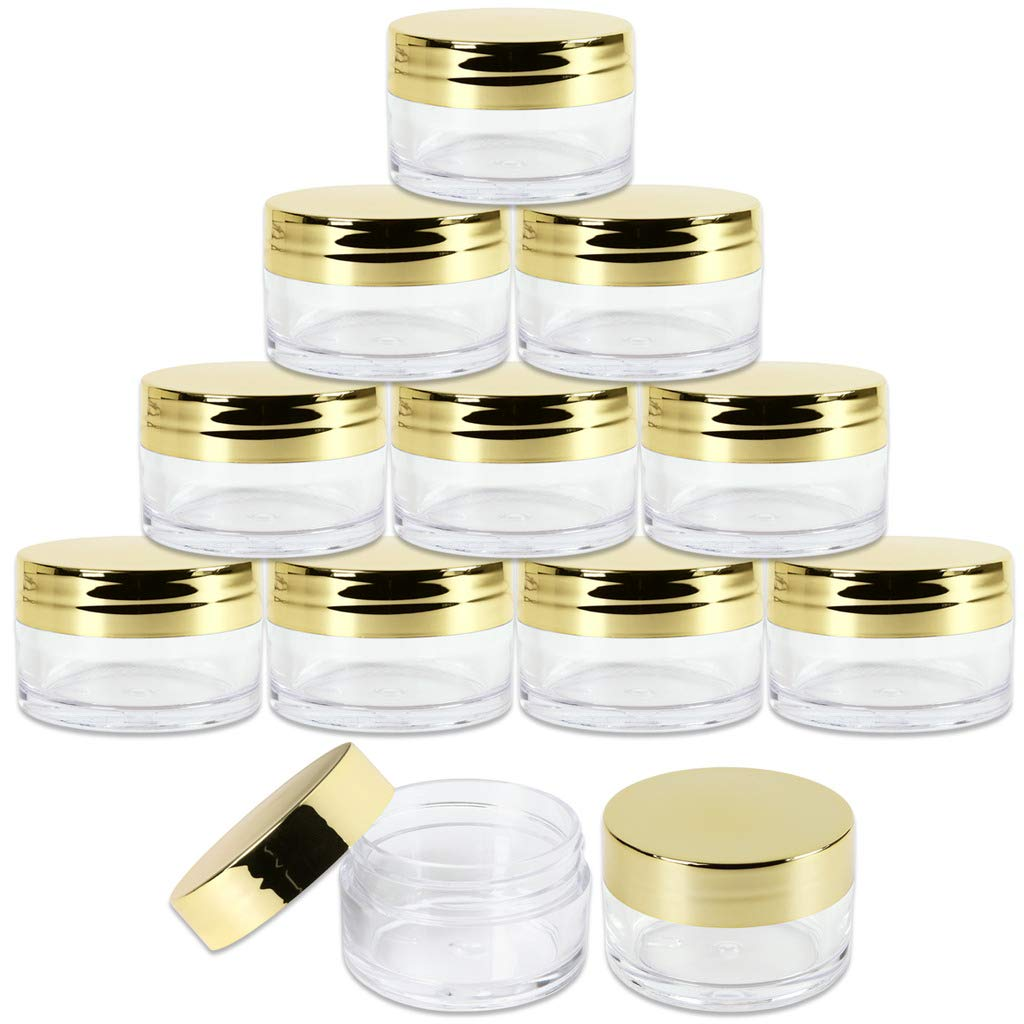 Beauticom 20g 20ml USA Acrylic Round Clear Jars with Lids for Lip Balms, Creams, Make Up, Cosmetics, Samples, Ointments 48 Pieces Jars Gold Lids