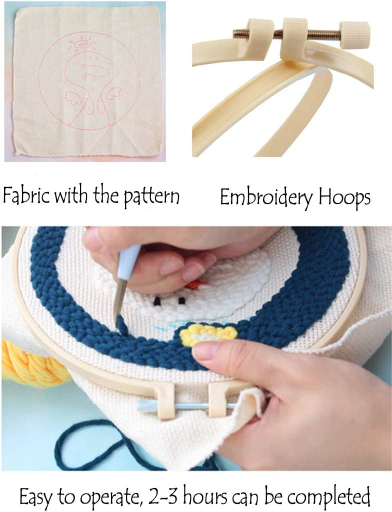 Punch Needle Embroidery Starter Kits Punch Needle Tool Threader Embroidery Hoop Yarn Rug Punch Needle