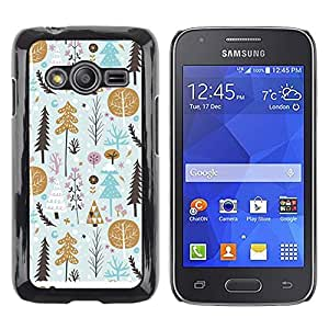 LECELL--Funda protectora / Cubierta / Piel For Samsung Galaxy Ace 4 G313 SM-G313F -- Gold Tree Gift Paper Winter Holidays --