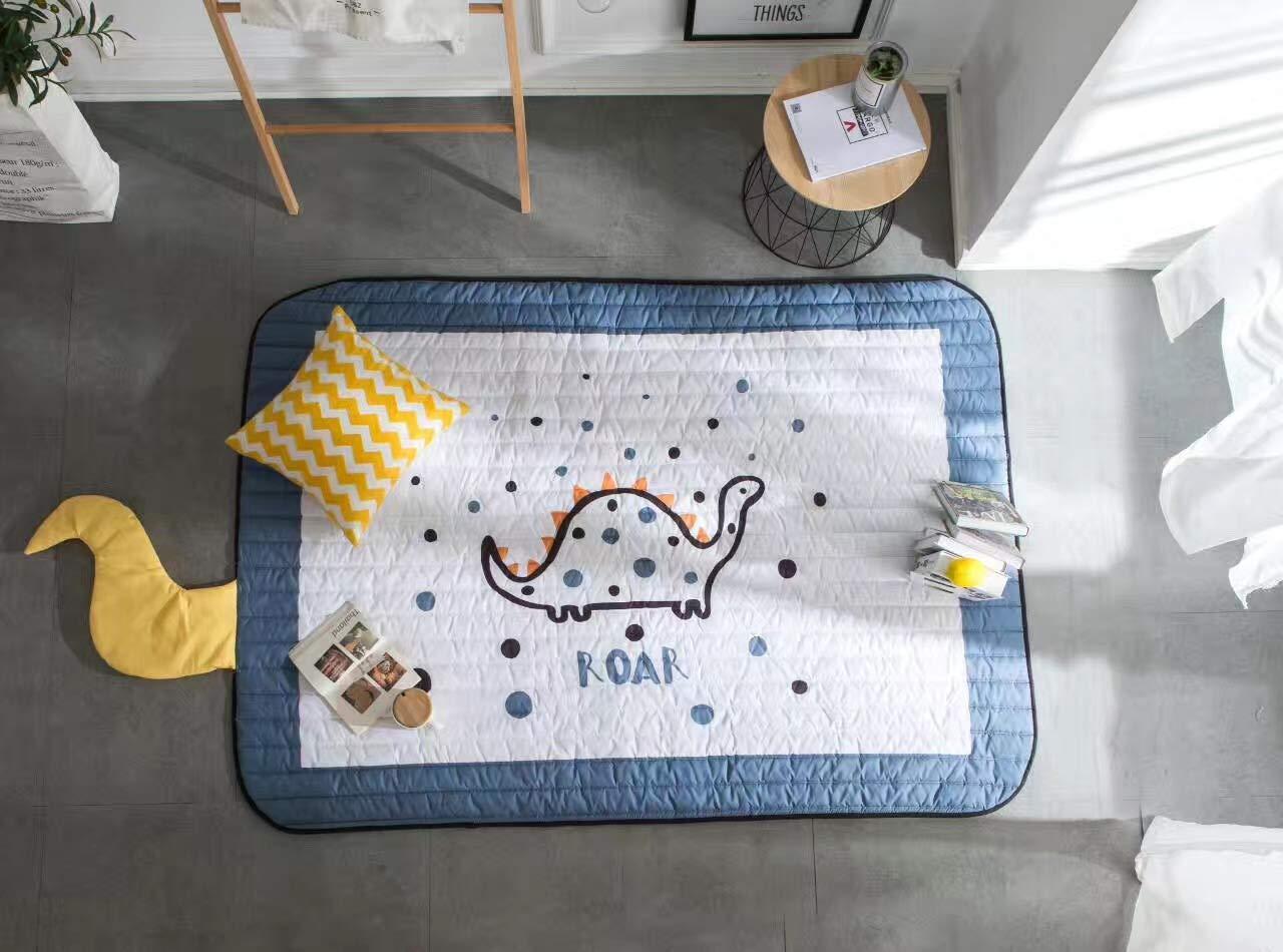 Baobe Baby Kinderteppich, Spielmatte Baumwolle Rutschfeste ungiftig Super groß e Spielmatte 145 cm * 195 cm * 1, 5 cm waschbar Bunte schö ne Tiere (blau)