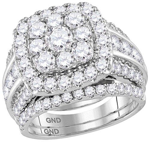 14kt White Gold Womens Round Diamond Halo Bridal Wedding Engagement Ring Band Set 4.00 Cttw by JawaFashion