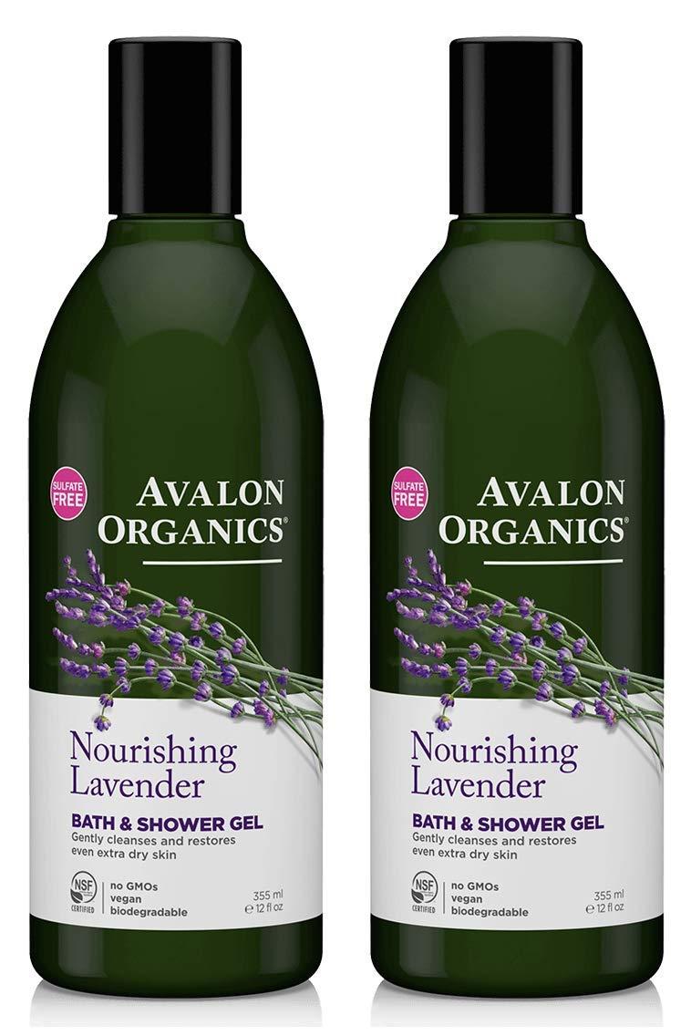 Avalon Organics Nourishing Lavender Bath and Shower Gel (Pack of 2) With Aloe Vera Leaf Juice, Lime Oil, Lemon Peel, Lavender Oil, Calendula, Matricaria, Quinoa Seed and Coumarin, 12 oz. each