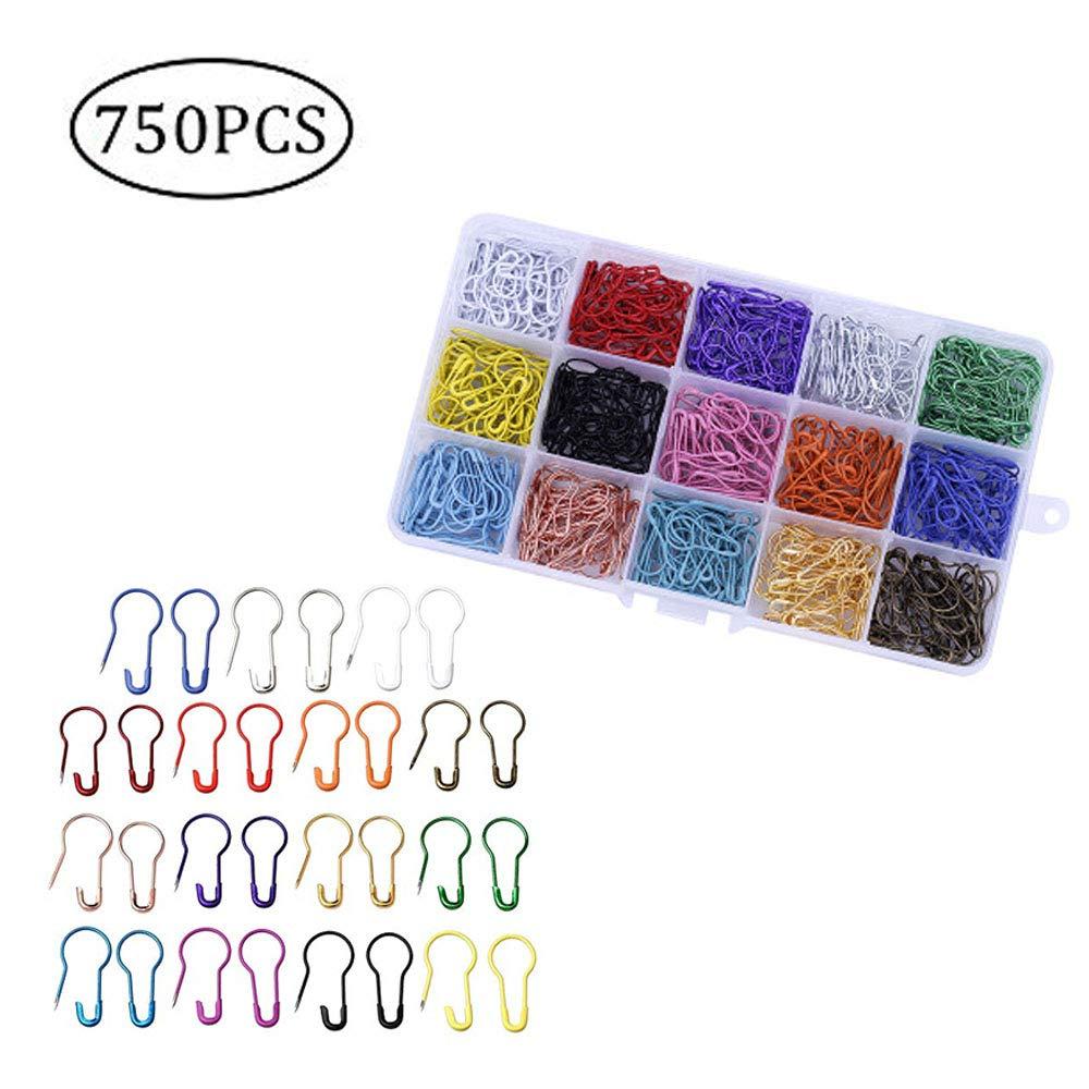 Punto Marcador de Puntada Sprie/ßen 750 PCS 15 Colores Bulbos Pernos de Seguridad de Calabaza de Calabaza de Metal con Caja de Almacenamiento para Artesan/ía de Bricolaje y ropa