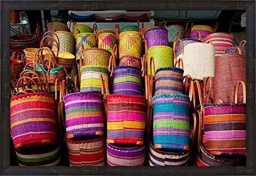 Baskets for sale in a market, Lourmarin, Vaucluse, Provence-Alpes-Cote d'Azur, France by Panoramic Images Framed Art Print Wall Picture, Espresso Brown Frame, 32 x 22 inches