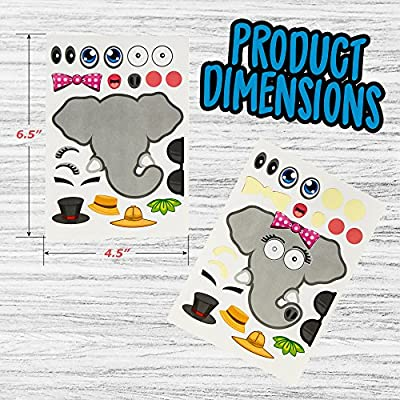 24 Make-A-Zoo Animal Sticker Sheets - Great Zoo And Safari Theme Birthday Party Favors - Fun Craft Project For Children 3+ - Let Your Kids Get Creative & Design Their Favorite Animal Sticker!: Toys & Games
