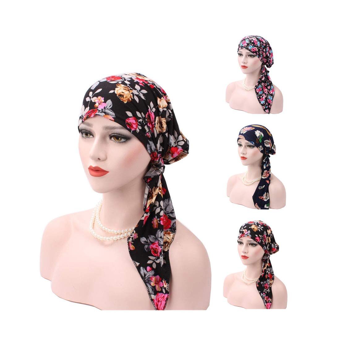 3 Pack Women's Chemo Cap,Turban Headwear,Multi Function Headwrap and Chemo Hats for Hairloss