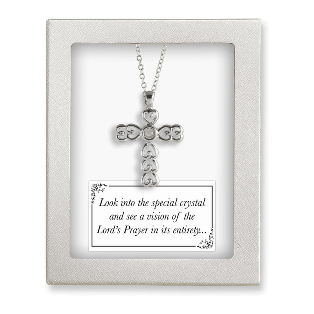 Jewelry Adviser Gifts Silver-Tone 18in Lords Prayer Crystal Cross Necklace