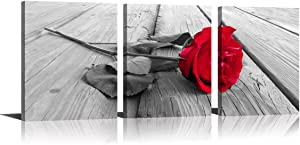YPY Rose Wall Art for Bedroom Floral Flower Black White Oil Painting Printed on Canvas Artwork Pictures Ready to Hang (Red, 12x16in)