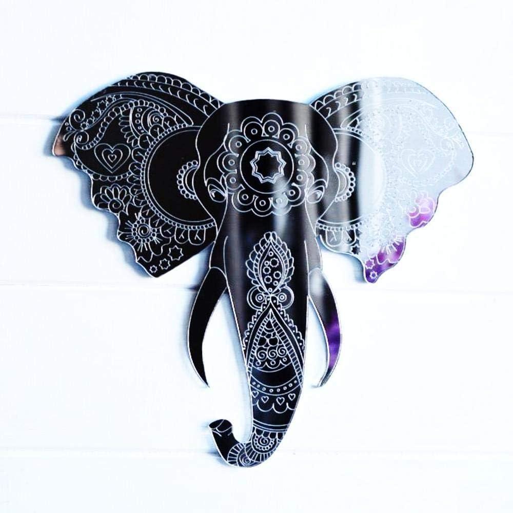 Éléphant gravé tête et tronc Acrylique Miroir