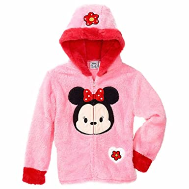 37a018cc83bf Amazon.com  Princess Disney Girls Minnie Mouse Zip-up Plush Hoodie ...