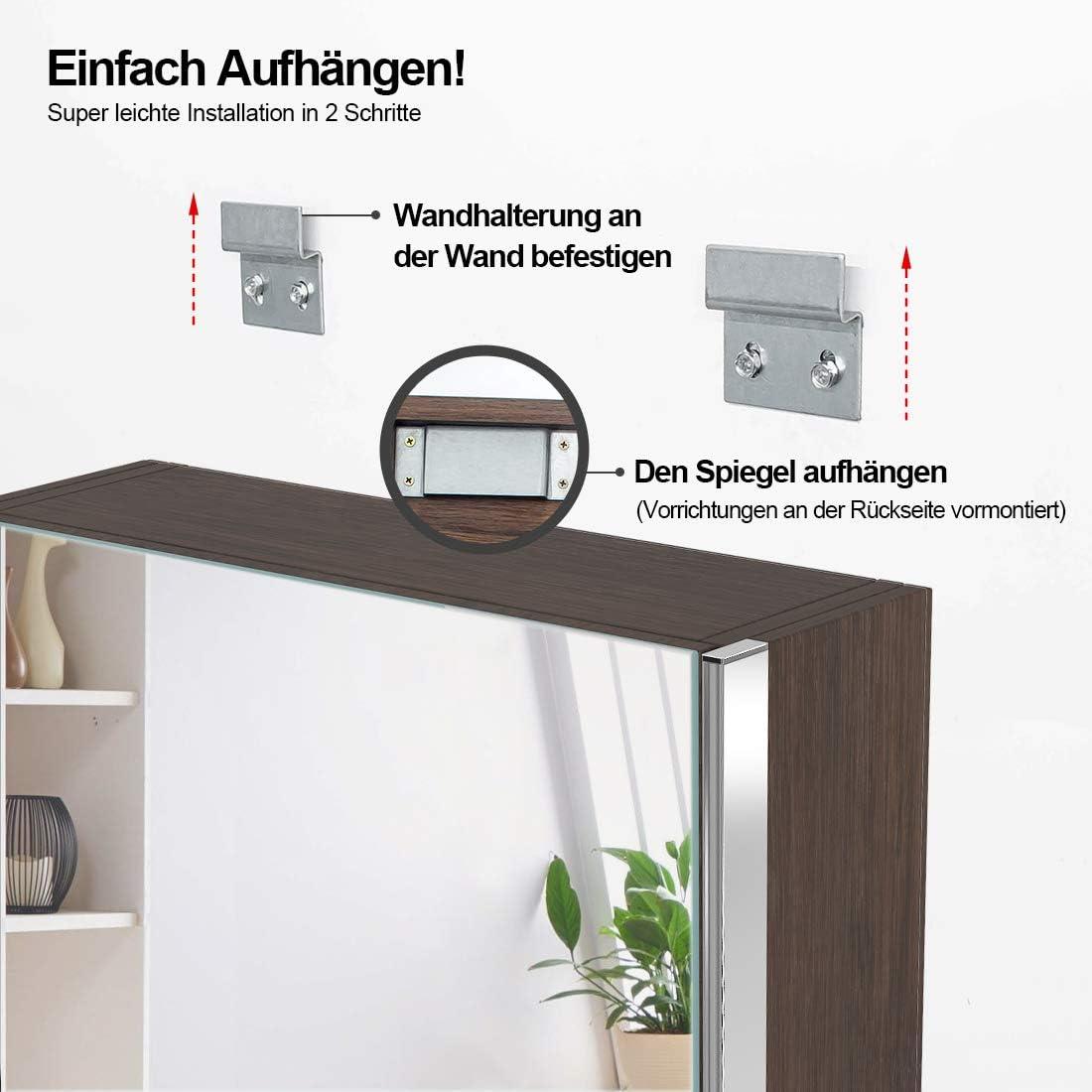 Meykoers Spiegelschrank mit Beleuchtung 50x70x15cm Badschrank mit Wandspiegel Badezimmerspiegel LED mit Sensor Schalter Energieklasse A