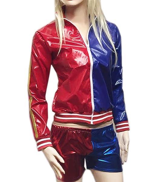 Islander Fashions Womens Harley Quinn Chaqueta de PVC Rojo y ...