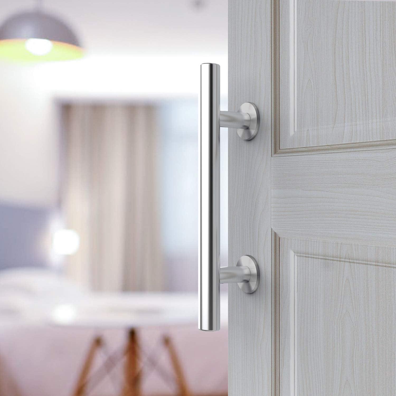 Orgerphy - Juego de tirador de puerta corredera de acero inoxidable de 12 pulgadas y pestillo de puerta de 25,4 cm para puerta de granero y cobertizos de puerta de 25,4 cm:
