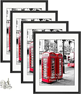 Giftgarden 18x24 Black Frames Set of 4, Made to Display 16x20 Pictures with Mat or 18 x 24 Without Mat, Wall Mounting Portrait and Landscape Art