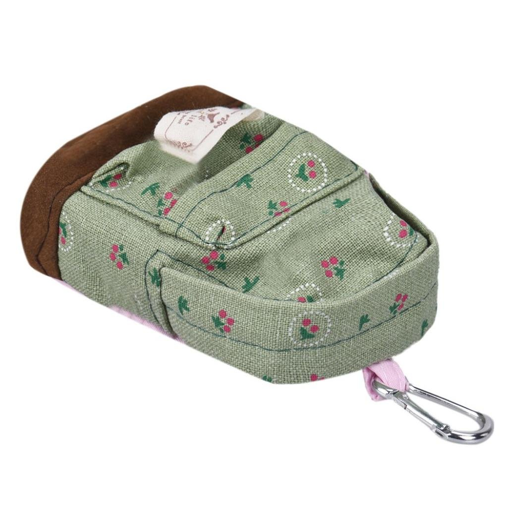 DZT1968(TM)Women Canvas Floral Small Mini Square Backpack Design Wallet Coin Money Bags Gift (Green)