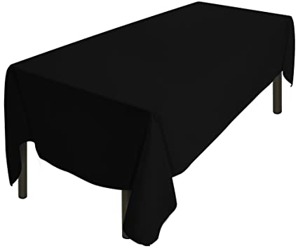 Utopia Kitchen Tablecloth 60 X 126 Inch   Black Tablecloth   100 Percent  Polyester