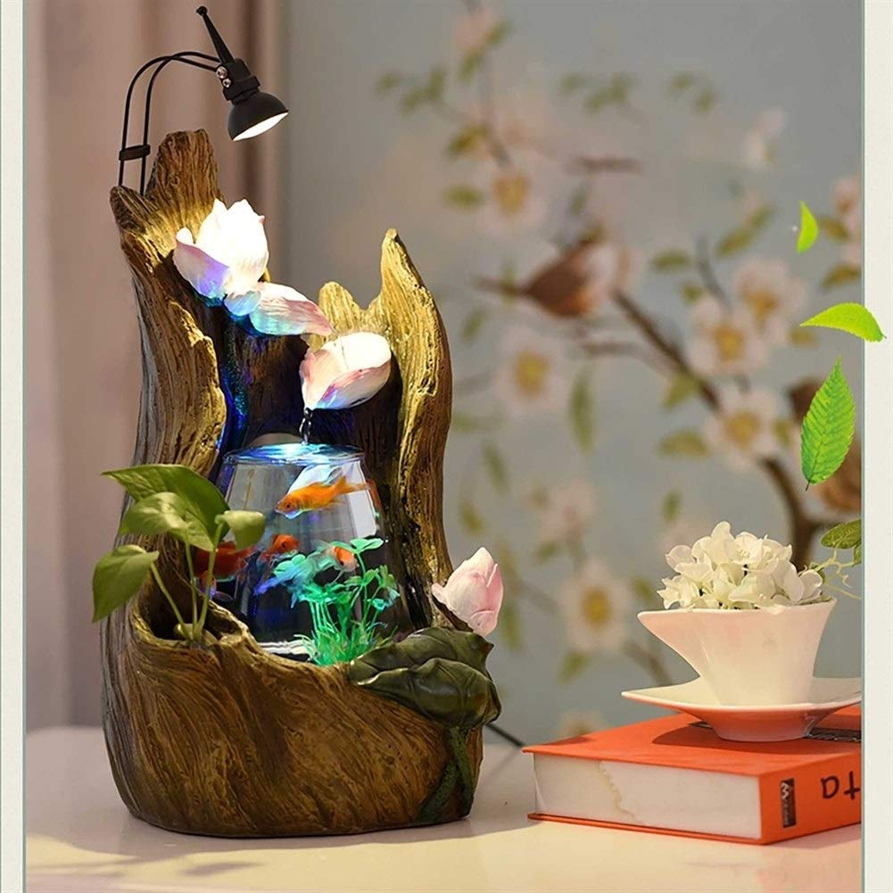 C180730042 BEITAI Aquarium Wonderland Fishtank Tree Hollow Fountain with Light Desktop Office Decoration Indoor Centerpiece Gift Like Table lamp (color   C180730042)