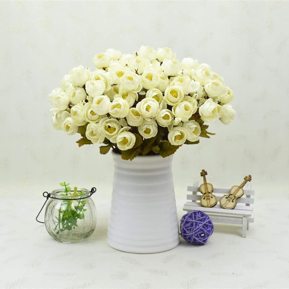 Fashionwu Branch 18本花 美人 カメリアブーケ 造花 ウェディング ホーム オフィス 装飾 LN-20180814-9D6D854A70 B07GFLN5CX ホワイト(creamy-white)