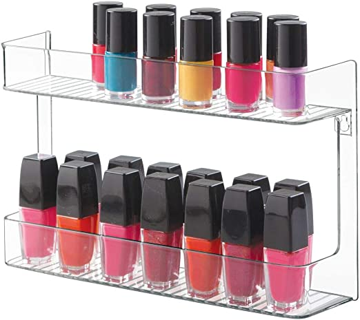 Mdesign Wall Mount Nail Polish And Cosmetics Storage Rack For Bathroom 2 Tiers Clear