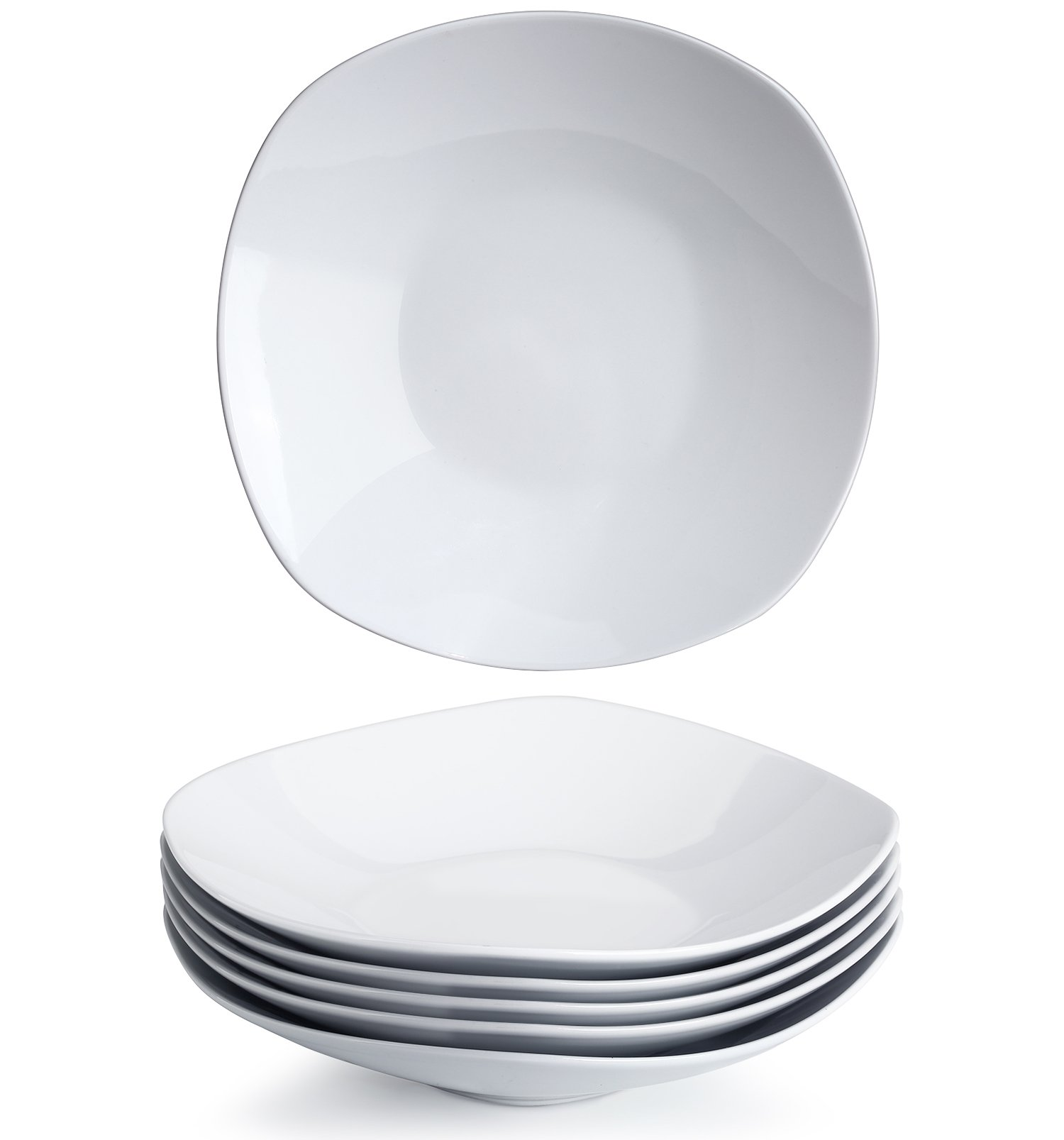 YHY 9-inch Porcelain Salad/Pasta/Dessert Bowls,White Square Bowl Set, Wide & Shallow, Set of 6