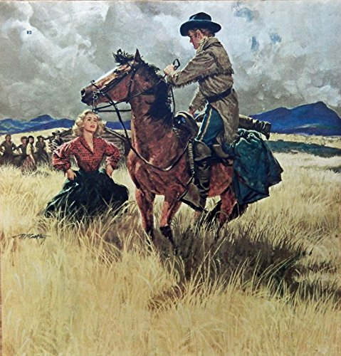 Frank McCathy, Color Illustration Print art (woman in field,man on horse) Authentic oringial vintage, 1955 Collier's Magazine Art