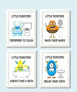 Silly Goose Gifts Fun Monster Children Bathroom Wall Decor (Set of Four)