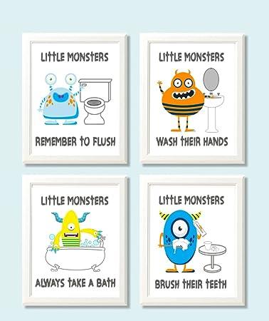 Fun Monster Children Bathroom Wall Decor (Set Of Four)