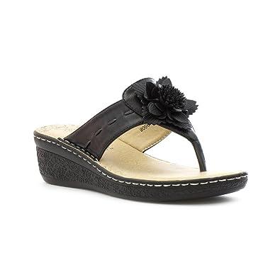 da683e028 Softlites Womens Black Comfort Toe Post Sandal - Size 6 UK - Black   Amazon.co.uk  Shoes   Bags