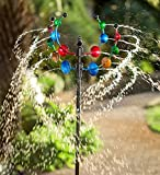 Outdoor Hydro-Disc Garden Wind Spinner Sculpture with Water Feature