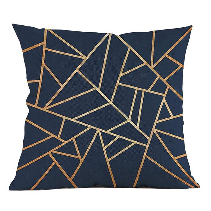 ☀️QINGXIA_ZI Funda de Cojín Almohada Caso de DecorativoFunda de Almohada geométrica Cintura Cojín Sofá Decoración para el hogar45*45cm: Amazon.es: Hogar