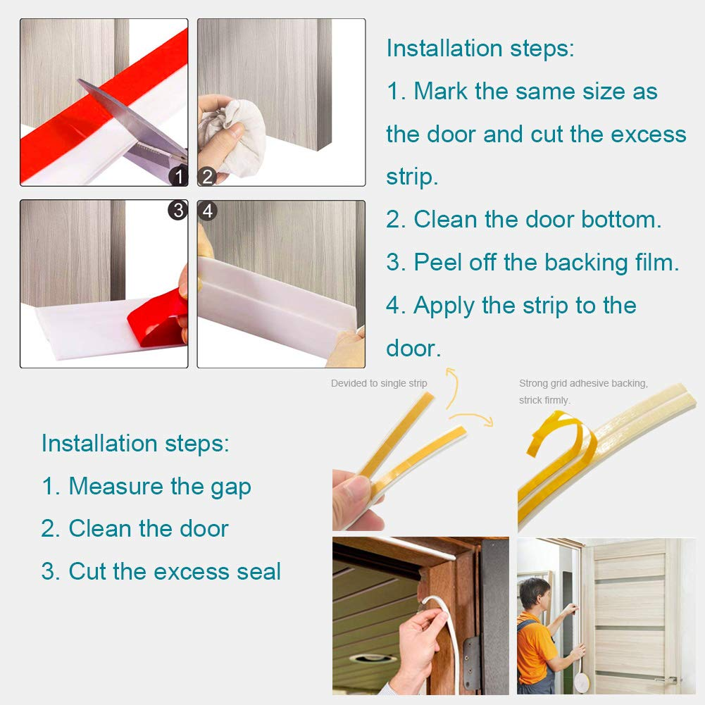Soundproof Weather Stripping Door Draft Stopper Kit 19.5Ft Long Insulation F...