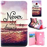 Lumia 435 Case, Enjoy Sunlight Microsoft Lumia 435 Case [Kickstand Feature] Luxury Wallet PU Leather Folio Wallet Flip Case Cover Built-in Card Slots for Microsoft Nokia Lumia 435 Case[Never Stop Dreaming] with 1 Stylus Pen