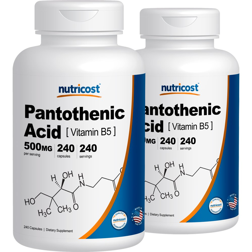 Nutricost Pantothenic Acid (Vitamin B5) 500mg, 240 Capsules (2 Bottles) by Nutricost