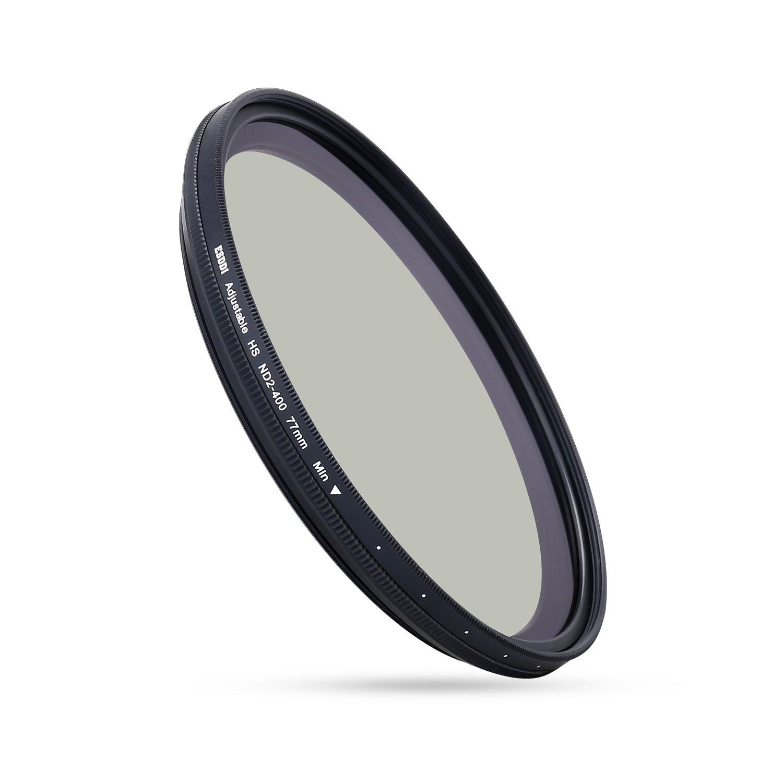 ESDDI 77mm ND Filter HD Adjustable Variable ND2-400 Fader Variable Neutral Density with Schott B270 Glass Dark Black Aluminum Frame