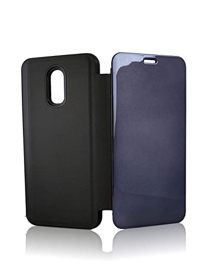 cheaper 6a114 787a1 Annure Electroplated Mirror Flip Case Cover for Oneplus 6T One Plus 6T  (Black)