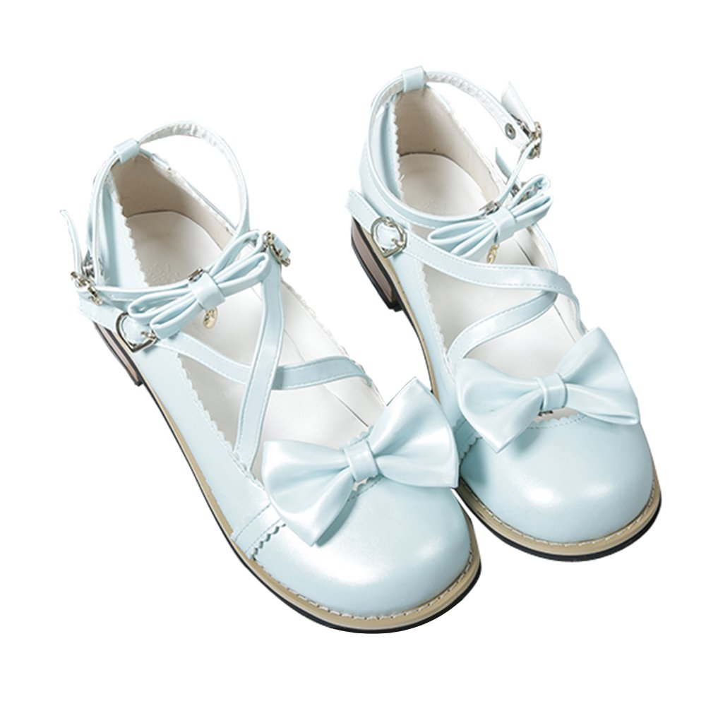 Japanese Sweet Lolita Low Chunky Heels Round Toe Bowtie Strappy Tea Party Shoes B07BV2HLT5 5 M US|Light Blue
