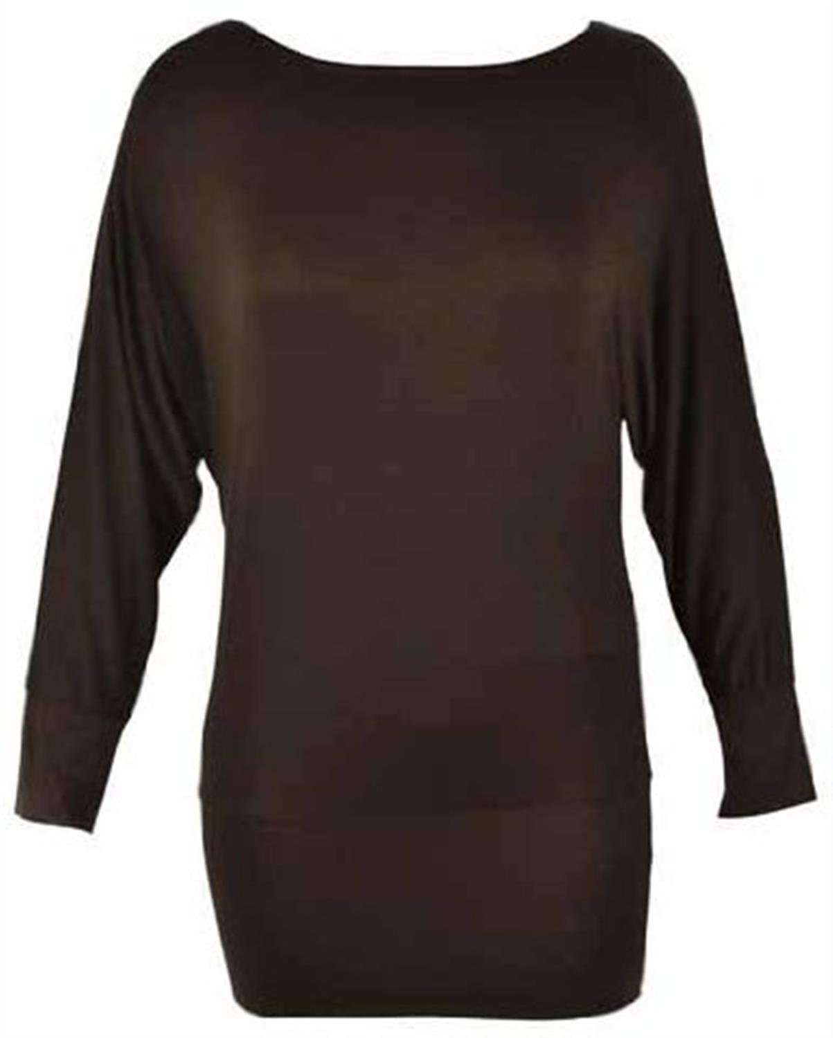 162ae28317f0 Chocolate Pickle ® NEW LADIES PLAIN BATWING LONG SLEEVE SLOUCH DRESS TOP  8-16  Amazon.co.uk  Clothing