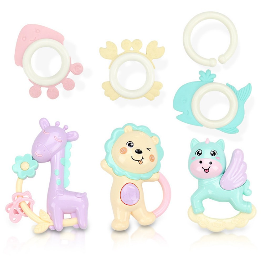6 Piece Rattles Teether Set - Baby Rattle Toys, Infant Teether Toys, Grab Toys, Shaking Bell Rattle Set with Storage Box Toys for 0, 3, 6, 9, 12 Month Old Baby Boy and Girl, Candy Colors Rocita