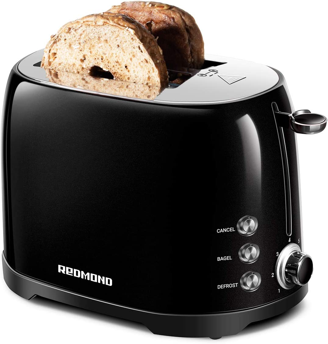 "REDMOND Retro Toaster 2 Slice Stainless Steel Compact Bagel Toaster with 1.5""Extra Wide Slots, 7 Bread Shade Settings, Removable Crumb Tray for Breakfast, 800W (Onxy Black)"