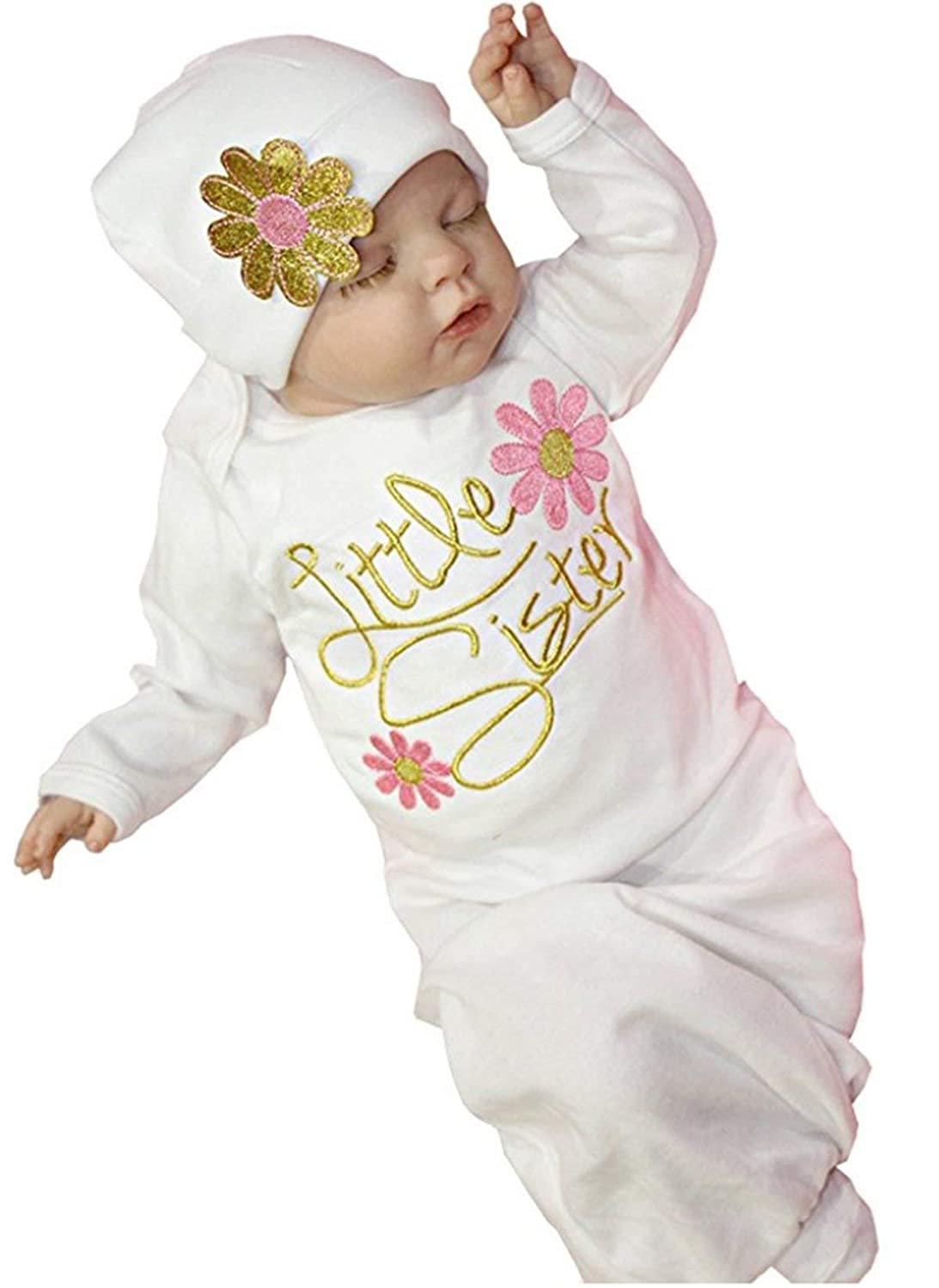 Yi Xian Newborn Infant Girls Take Home Outfit Girl Gift Clothes Set Baby Gown