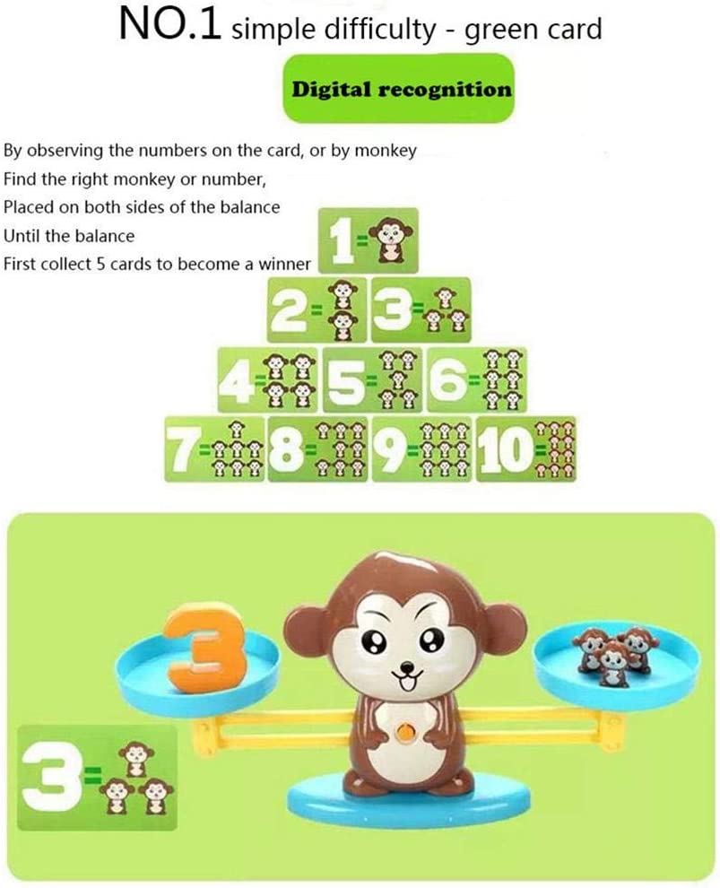 Educational Toy Gift for Boys and Girls Ages 3+ Volwco Monkey Balance Math Game 64 Piece STEM Learning Toy to Learn Counting Numbers and Basic Math