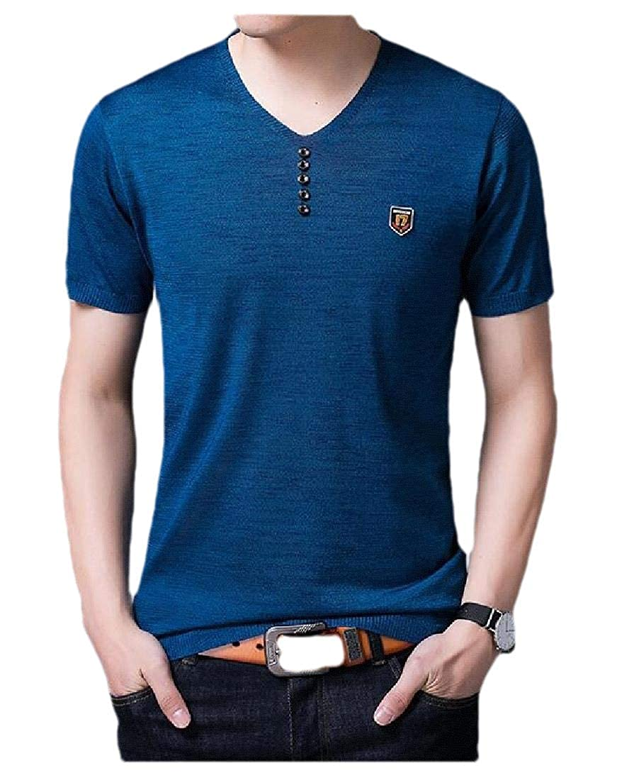 Hajotrawa Mens Button V Neck Solid Short Sleeve Tee T-Shirt