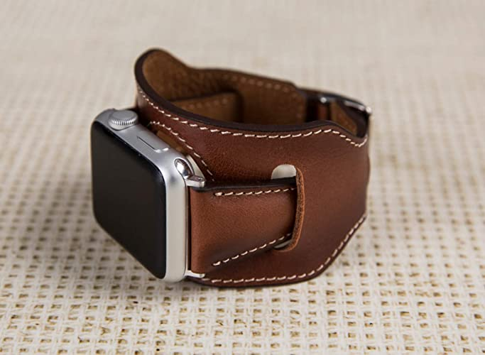 66cea395e Apple Watch Band for Women, 38mm, 40mm, 42mm, 44mm, Cuff Brown iWatch  Genuine Leather Band, Thin Feminine iWatch Band, Genuine Leather  Personalization ...