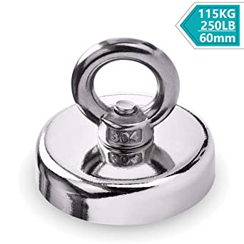 Round Double Sided Fishing Magnet Super Strong Neodymium 19-580KG Pulling Force