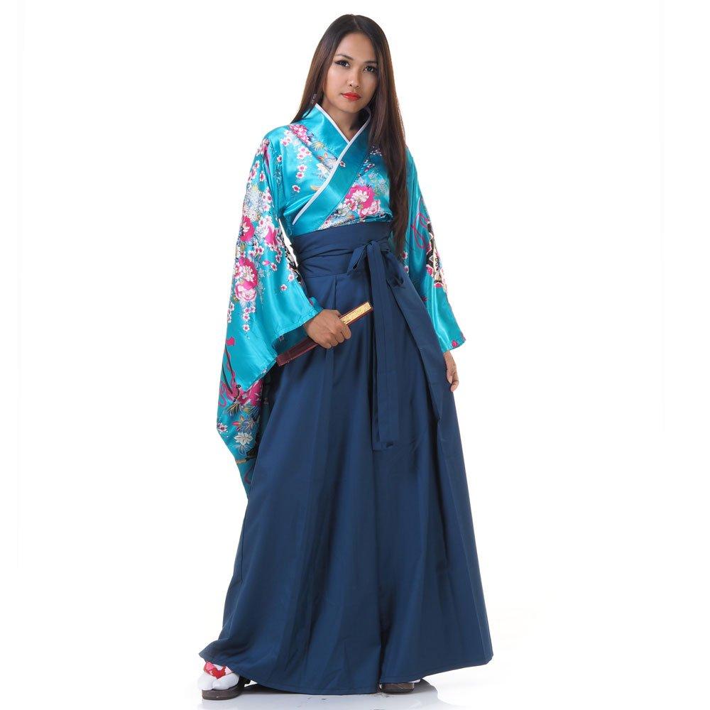 Japan Damen Geisha Samurai Kimono Outfit Kostü m S M 36 38 40 Damen Samurai HK Bluse Türkis