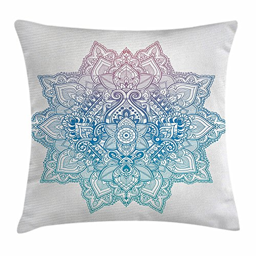 ushion Cover Bohemian Tattoo Style Zen Pastel Toned Mandala Abstract Lotus Flower Design Decorative Square Accent Pillow Case 18 X 18 inch ()
