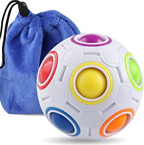 Coogam Rainbow Puzzle Ball with Pouch Color-Matching Puzzle Game Fidget Toy Stress Reliever Magic Ball Brain Teaser for Kids and Adults, Children, Boy, Girl Holiday