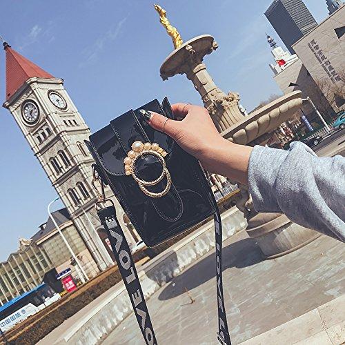 Nueva de Bandolera Bolsa Pequeño Package Mini Laca Bolso Móvil Negro Bolsa Hong Estilo de Piel Kong Hembra Handbag nacarado Personalidad Gules de Satchel Amplia Solo teléfono CJshop gOxqZawnX5