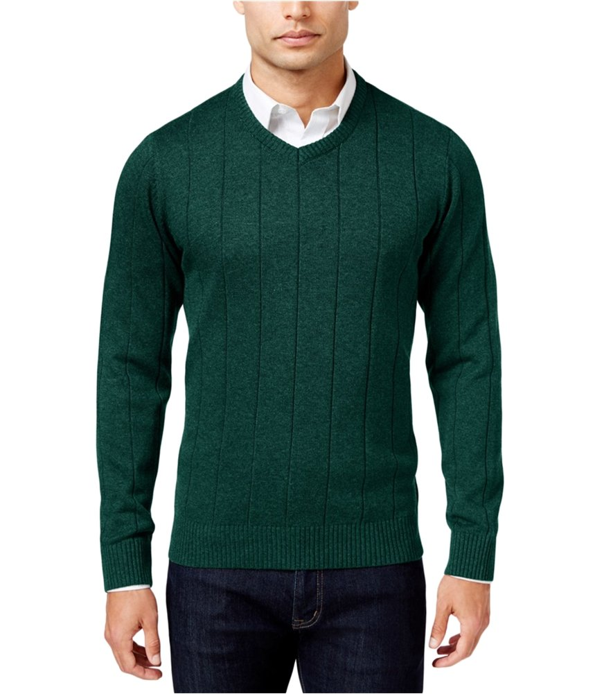 John Ashford Mens Ribbed Trim Long Sleeves Pullover Sweater Green L