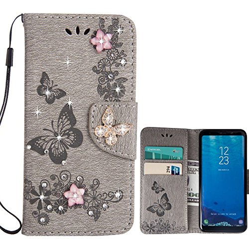 for Samsung Galaxy S7 Case LAPOPNUT 3D Bling Crystal Diamond Butterfly PU Leather Case Embossed Flower Kickstand Magnetic Flip Card Holders Hand Strap Wallet Cover, ()